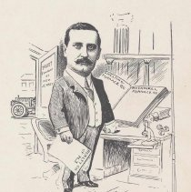 """Image of Caricature of George A. Berger, [Hoboken, n.d., ca. 1907-1916]. From album, """"Just for Fun""""; archives catalogue 2005.018.0001. - Print"""
