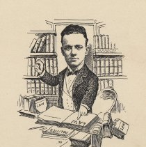 """Image of Caricature of Harlan Besson, [Hoboken, n.d., ca. 1907-1916]. From album, """"Just for Fun""""; archives catalogue 2005.018.0001. - Print"""