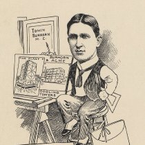"""Image of Caricature of Edwin Burhorn, [Hoboken, n.d., ca. 1907-1916]. From album, """"Just for Fun""""; archives catalogue 2005.018.0001. - Print"""