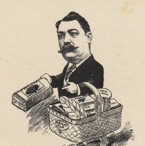 """Image of Caricature of Chris F. Frerichs, [Hoboken, n.d., ca. 1907-1916]. From album, """"Just for Fun""""; archives catalogue 2005.018.0001. - Print"""