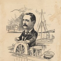 """Image of Caricature of L.S. Fugazzi, [Hoboken, n.d., ca. 1907-1916]. From album, """"Just for Fun""""; archives catalogue 2005.018.0001. - Print"""