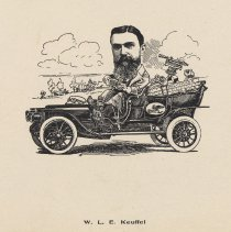 """Image of Caricature of W. L. E. Keuffel, [Hoboken, n.d., ca. 1907-1916]. From album, """"Just for Fun""""; archives catalogue 2005.018.0001. - Print"""