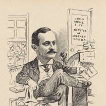 """Image of Caricature of Henry Mehl, [Hoboken, n.d., ca. 1907-1916]. From album, """"Just for Fun""""; archives catalogue 2005.018.0001. - Print"""