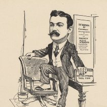 """Image of Caricature of Robert Schrenk, [Hoboken, n.d., ca. 1907-1916]. From album, """"Just for Fun""""; archives catalogue 2005.018.0001. - Print"""