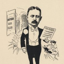 """Image of Caricature of George H. Steljes, [Hoboken, n.d., ca. 1907-1916]. From album, """"Just for Fun""""; archives catalogue 2005.018.0001. - Print"""