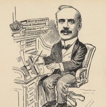 "Image of Caricature of Edwin A. Stevens, [Hoboken, n.d., ca. 1907-1916]. From album, ""Just for Fun""; archives catalogue 2005.018.0001. - Print"