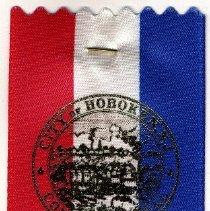 Image of Commemorative ribbon: Mayor David Roberts, July 1, 2001, Inaugural Committee. Issued Hoboken, 2001. - Ribbon, Commemorative
