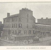 Image of Printed B+W photograph of Old Napoleon Hotel, 100 Washington St., Hoboken, no date, ca. 1870's. - Print, Photographic