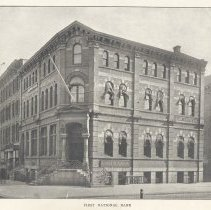Image of Printed B+W photograph of First National Bank, Hoboken, no date ca. 1900. - Print, Photographic