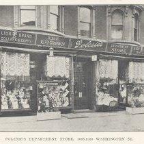 Image of Printed B+W photograph of Polesie's Department Store, 1028-1030 Washington Street, Hoboken, ca. 1903-1908. - Print, Photographic