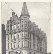 Image of Printed B+W photograph of the Hoboken Bank for Savings, 84 Washington St., Hoboken, ca. 1903-1908. - Print, Photographic