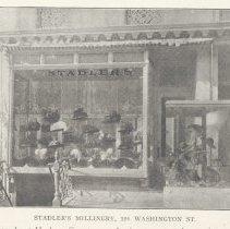 Image of Printed B+W photograph of Stadler's Millinery, 120 Washington Street, Hoboken, ca. 1906-1908. - Print, Photographic
