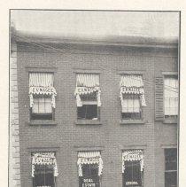 Image of Printed B+W photograph of Harper's Agency, 56 Newark Street, Hoboken, ca. 1906-1908. - Print, Photographic