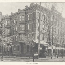 Image of Printed B+W photograph of Meyer's Hotel, corner of Third and Hudson Streets, Hoboken, ca. 1906-1908. - Print, Photographic