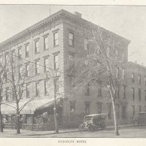 Image of Printed B+W photograph of Naegeli's Hotel, corner of Third and Hudson Streets, Hoboken, ca. 1906-1908. - Print, Photographic