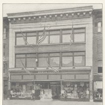 Image of Printed B+W photograph of Geismar-Meyer Company (department store), 220-224 Washington Street,  Hoboken, 1908. - Print, Photographic