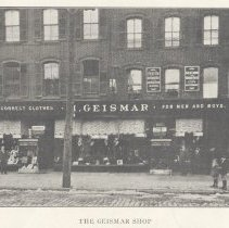 Image of Printed B+W photograph of The 'Geismar Shop', 226-228 Washington Street,  Hoboken, no date, ca. 1906-1907. - Print, Photographic