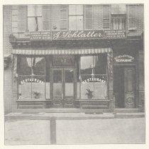 Image of Printed B+W photograph of Julius Schlatter, Restaurant, 92 Hudson St., Hoboken, no date, ca. 1906-1908. - Print, Photographic