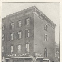 Image of Printed B+W photograph of Ernst Staude, Meat Market, 201 Washington St., Hoboken, no date, ca. 1905-1908. - Print, Photographic