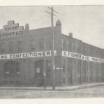 Image of Printed B+W photograph of S. Fisher & Co., confectioners, Eleventh, Clinton & Grand Streets, Hoboken, no date, ca. 1905-1908. - Print, Photographic
