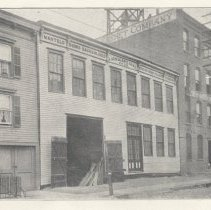 Image of Two printed B+W photographs of J. Gahagan's Sons, millwork, locations on Grand and Adams, Hoboken, no date, ca. 1906-1908. - Print, Photographic