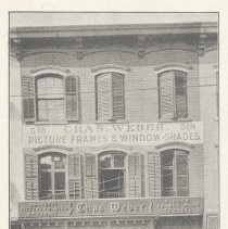 Image of Printed B+W photograph of Charles Weber, window shades & picture frames, 518 Washington Street, Hoboken, no date, ca. 1906-1908. - Print, Photographic