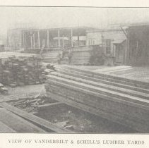 Image of Two printed B+W photographs of Vanderbilt & Schill facilities, lumber & timber, near Fourteenth & Washington Sts., Hoboken, no date, ca. 1906-1908. - Print, Photographic