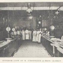 Image of Printed B+W photograph of M. Strohmeier & Brothers, wholesale & retail meats, 119 Washington Street,  Hoboken, no date, ca. 1906-1908. - Print, Photographic