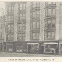 Image of Printed B+W photograph of Steljes & Steljes (real estate & insurance), 1122 Washington Street, Hoboken, no date, ca. 1906-1908. - Print, Photographic