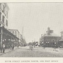 Image of Printed B+W photograph of River Street looking North and the Post Office, Hoboken, ca. 1908. - Print, Photographic