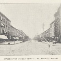 Image of Printed B+W photograph of  Washington Street from Sixth Street, looking south, Hoboken, ca. 1908. - Print, Photographic