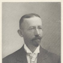Image of Printed B+W photograph of C. Alfred Burhorn, Secretary, Hoboken Board of Trade, Hoboken, ca. 1908. - Print, Photographic