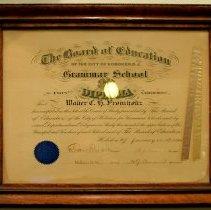 Image of Framed grammar school diploma of Walter C.H. Fromholtz from Grammar School No. 2, Hoboken, January 31. 1901. - Diploma