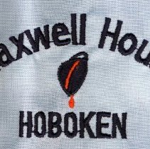 """Image of Shirt, long sleeve, with """"Maxwell House, Hoboken"""" logo embroidered above left breast pocket. No date, ca. 1970-1992. - Shirt"""