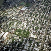 """Image of Digital reference image of color aerial view of Hoboken, June 6, 2003. Image number 8583. Photographer, Lee Ross, """"Aerial Photography by Rosspilot."""" - Print, Photographic"""