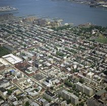 """Image of Digital reference image of color aerial view of Hoboken, July 17, 2003. Image number 9132. Photographer, Lee Ross, """"Aerial Photography by Rosspilot."""" - Print, Photographic"""
