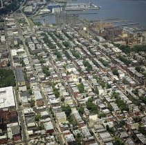 "Image of Digital reference image of color aerial view of Hoboken, July 17, 2003. Image number 9135. Photographer, Lee Ross, ""Aerial Photography by Rosspilot."" - Print, Photographic"