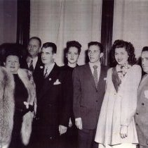 Image of B+W copy print of Mayor Fred DeSapio with Frank Sinatra et al at City Hall, Hoboken, Oct. 30,1947. - Photograph