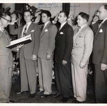 Image of Digital image of b+w photo of swearing-in ceremony for Fred M. DeSapio and other officials, City Hall, Hoboken, May 20,1947. - Print, Photographic