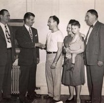 Image of Digital image of b+w photo of Mayor Fred M. DeSapio at the opening of the first veterans housing in Hoboken, Hoboken, no date, ca. 1947-51. - Print, Photographic