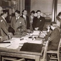 Image of Digital image of b+w photo of Mayor Fred M. DeSapio and Commissioners in Law Department at City Hall, Hoboken, May, 1947. - Print, Photographic