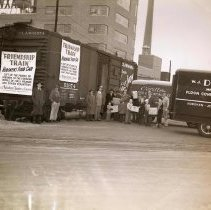 Image of Digital image of b+w photo of the Friendship Train, Hoboken's Food Car, on site of Maxwell House Coffee plant, Hoboken, no date, ca. 1947-1950. - Print, Photographic