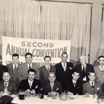Image of Digital image of b+w photo of Mayor Fred DeSapio attendees at the United Master Barbers Convention, Meyers Hotel, March 6, 1949. - Print, Photographic