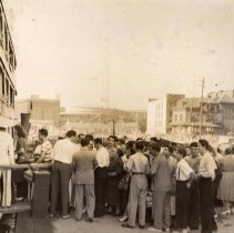 Image of Digital image of sepia-tone photo of people boarding a dayliner for DeSapio Democratic Association outing, Hoboken, no date, ca. 1945-1947. - Print, Photographic