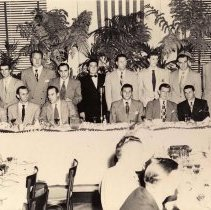 Image of Digital image of b+w photo of Mayor Fred DeSapio at Sports Dinner with N.Y. Yankees players, Union Club, Hoboken, no date, ca. 1950-1953. - Print, Photographic