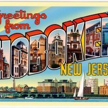 """Image of Postcard: """"Greetings from Hoboken, New Jersey"""" created by and printed for Hoboken artist Raymond Smith, Hoboken, 2005. - Postcard"""