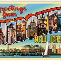 """Image of Notecard: """"Greetings from Hoboken, New Jersey"""" created by and printed for Hoboken artist Raymond Smith, Hoboken, 2005. - Notecard"""