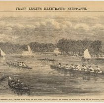 Image of Engraving: Boat Race Between the Atalanta Boat Club of New York and the Mutual, of Albany, on Saturday, June 30, at Hoboken, New Jersey. Engraving printed on page 284 of Frank Leslie's Illustrated Newspaper, July 21, 1866. - Print
