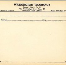 Image of Blank printed prescription form from Washington Pharmacy, 736 Washington Street, Hoboken, no date, ca. 1950-1960. - Form, Order