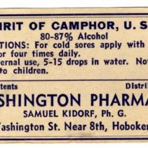 Image of Printed container label, Spirit of Camphor, from Washington Pharmacy, 736 Washington Street, Hoboken, no date, ca. 1950-1960. - Label